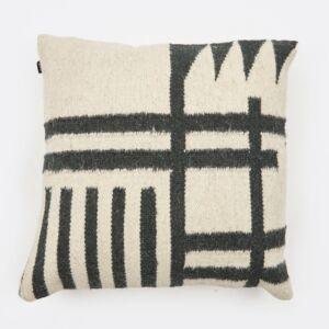 Kelim Cushion - Black Lines - Front