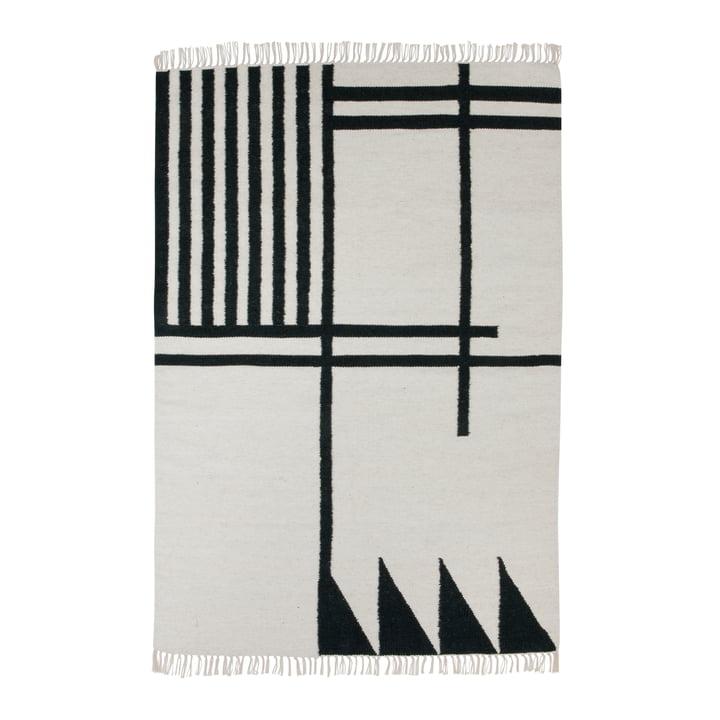 Kelim Rug - Black Lines - 140x200