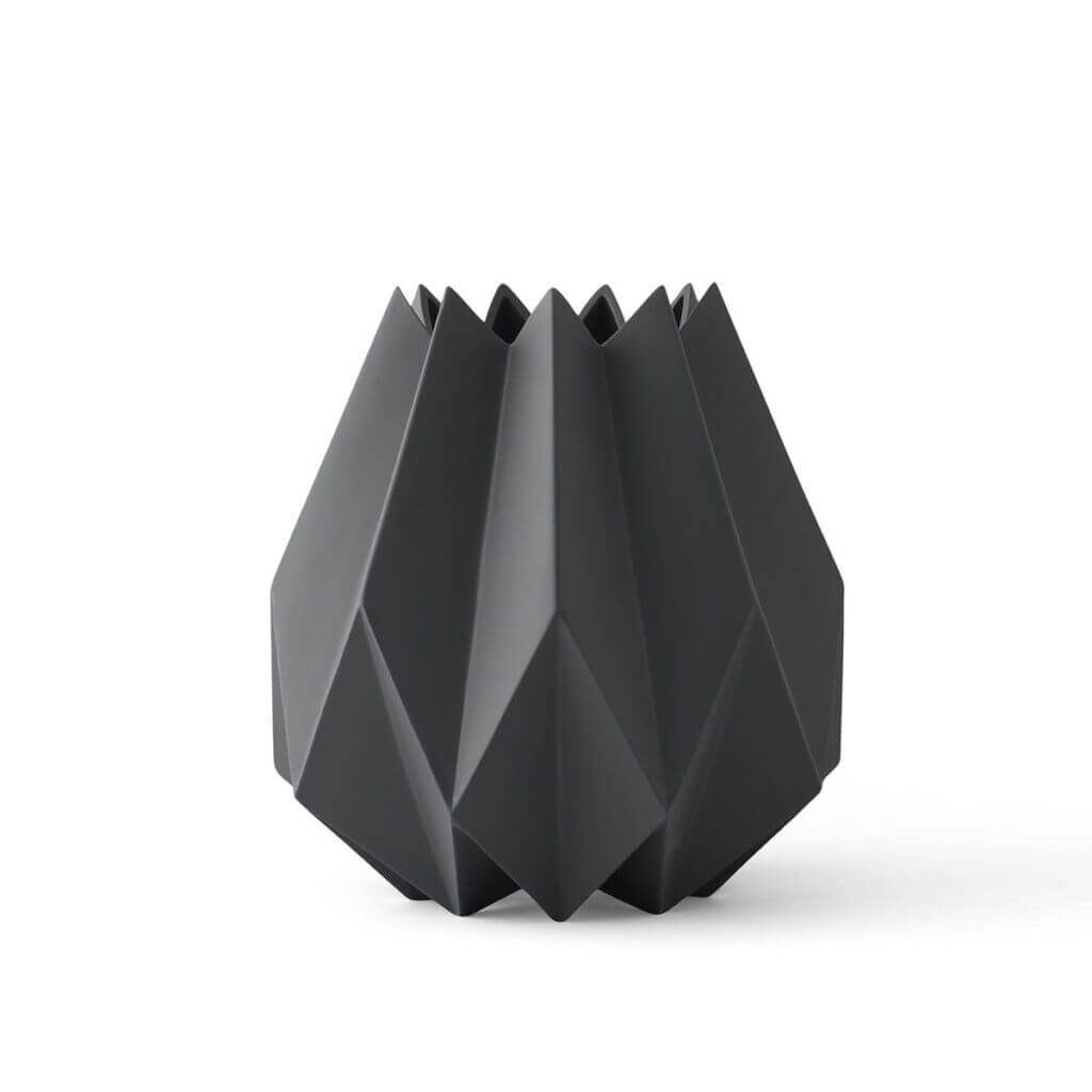 Folded Vase - Tall / Carbon