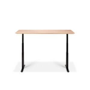Bok Adjustable Table - Black legs / Oak table top