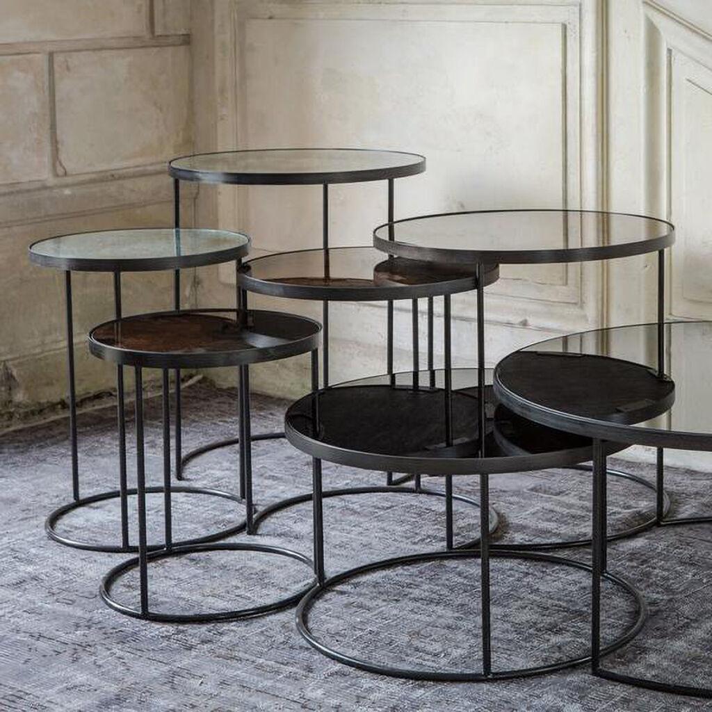 Charcoal Nesting Side Table, Bronze Nesting side table, Clear Nesting side table
