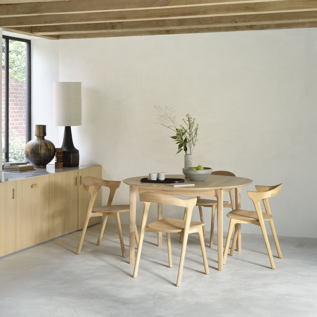 Bok Round Extendable Dining table - Oak, Bok Chair - Oak