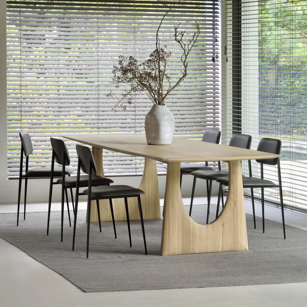 Oak Geometric dining table, Grey Nomad kilim rug, DC Dining Chair - Chocolate Leather