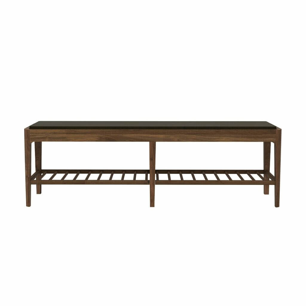 Spindle bench with upholstery - Walnut