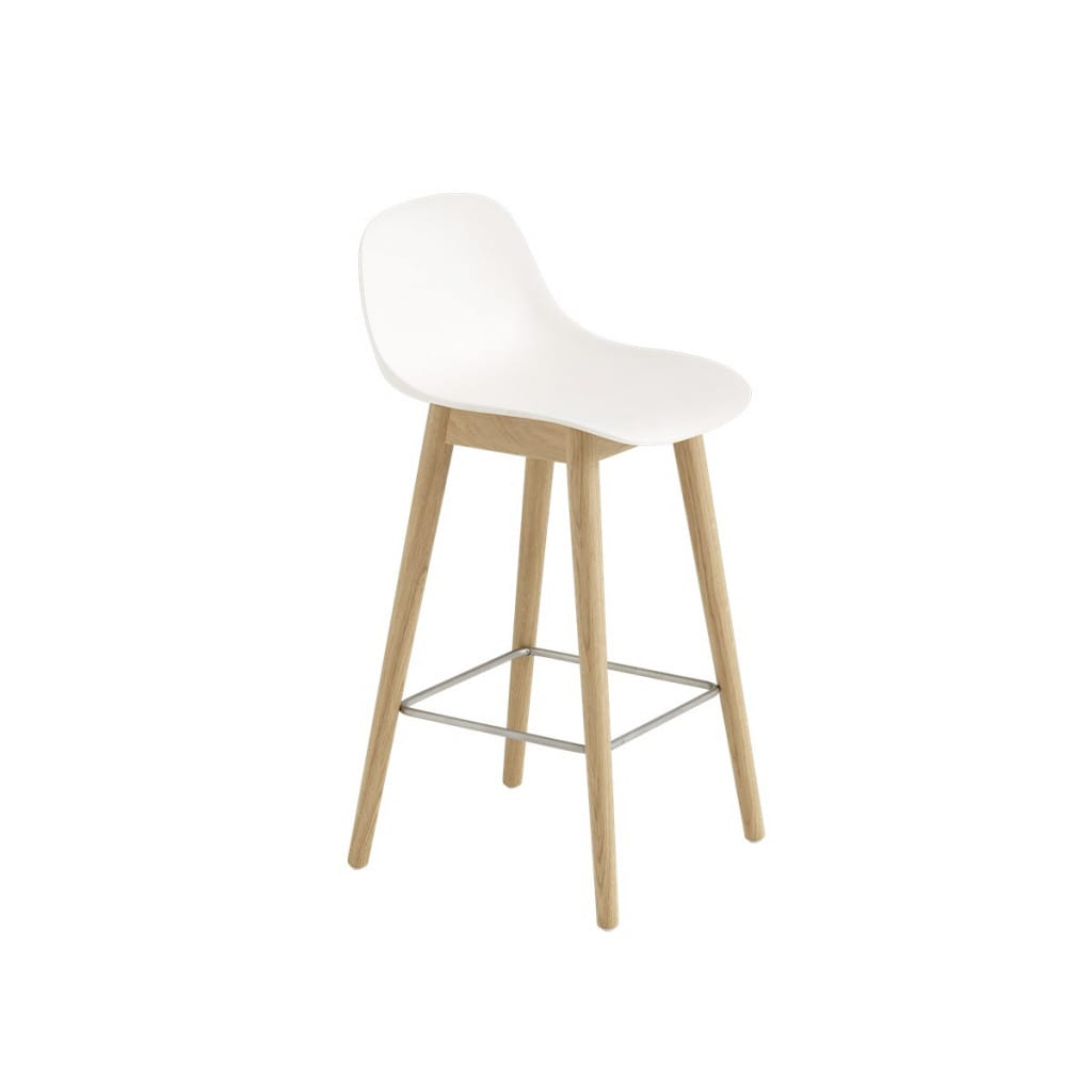 Fiber barstool with backrest - Woodbase - White