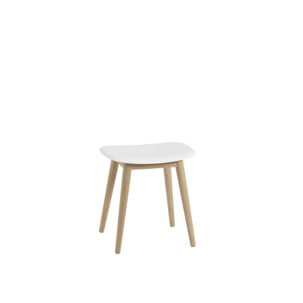 Fiber Stool - Woodbase - Natural Oak / White