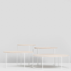 Poly-top - Set of tables - Ash/White legs