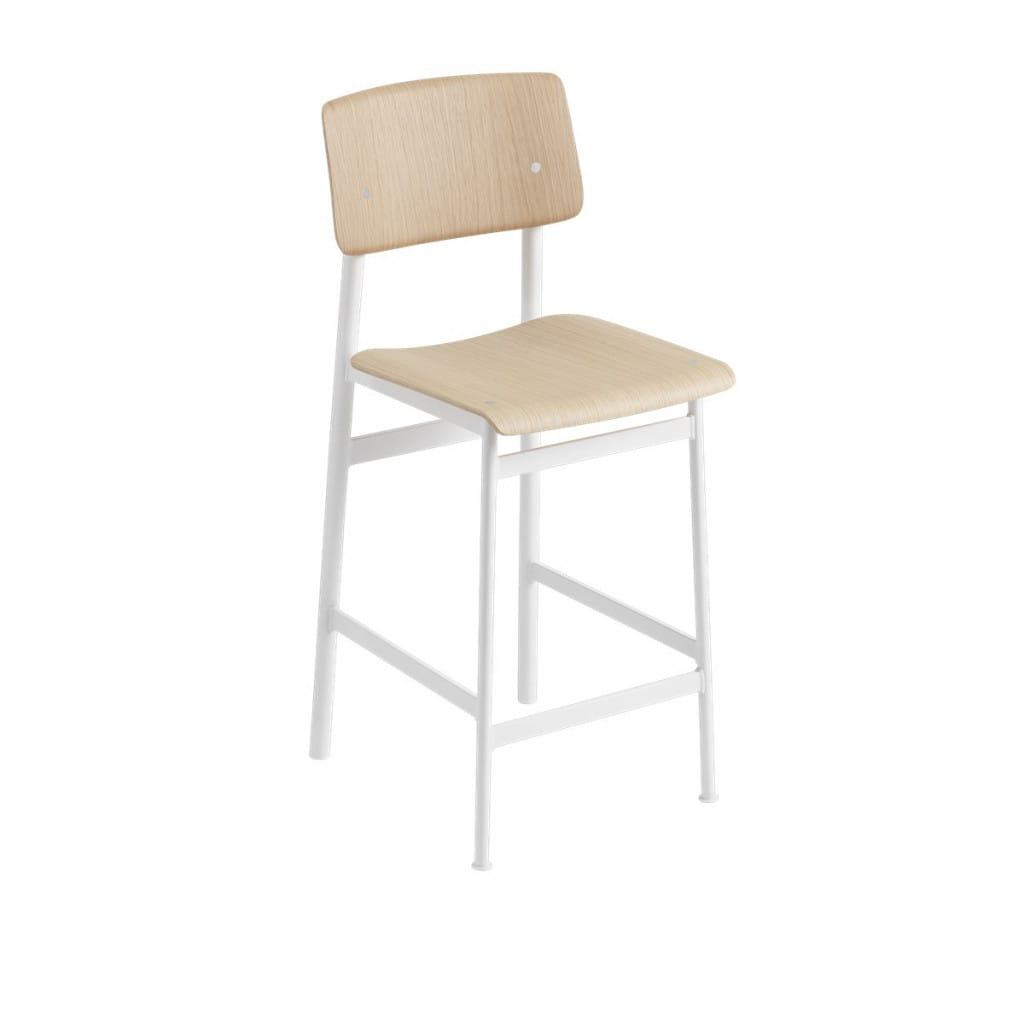 Loft Bar Stool - White / Oak
