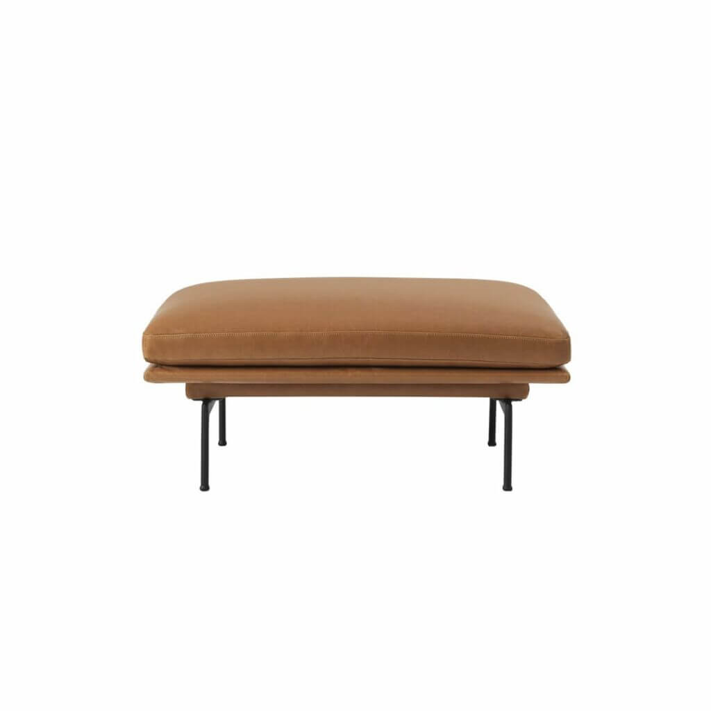 Outline Pouf - Cognac Silk Leather