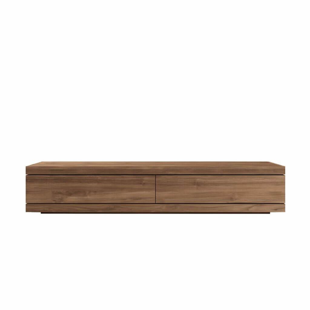 Teak Burger TV cupboard low - 1 flip door 1 drawer