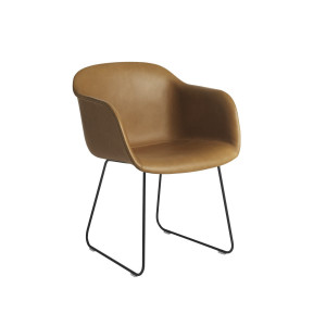 Fiber Armchair - Sled base - Cognac Leather